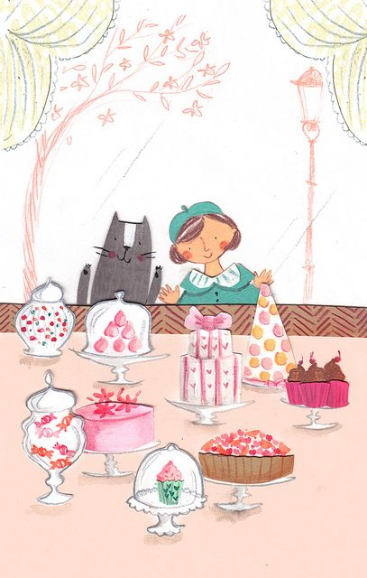 window shopping at the patisserie. adorable illustration. food art by Emma Block