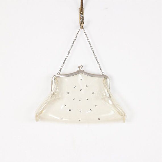 Transparent Clutch Handbag with Rhinestones and by salvagelife, $75.00