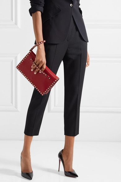 b6ee38810 Valentino | Valentino Garavani The Rockstud leather clutch |  NET-A-PORTER.COM