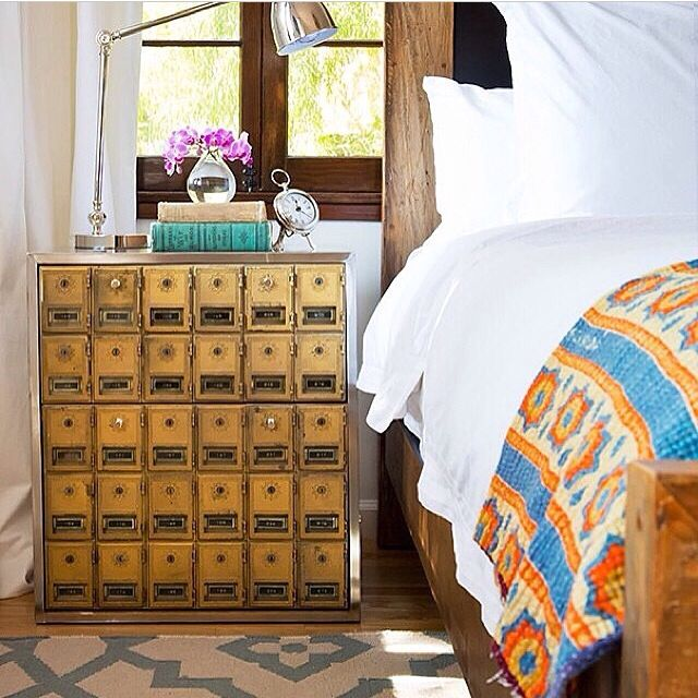 Love These Repurposed Mailboxes And The Simple Flowers By The Bed. How To  Style A Bedside Table.