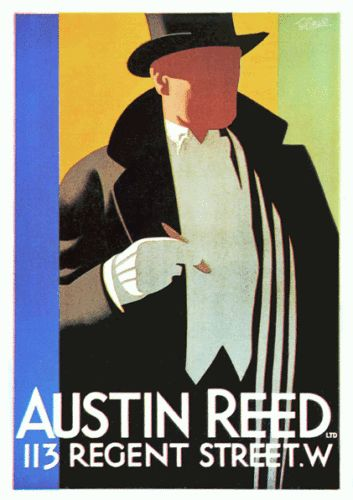 Art Deco Austin Reed of London Advertisement Poster 1920s Tom Purvis Top Hat | eBay