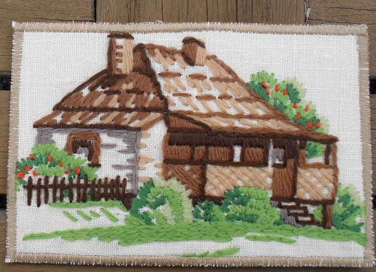 Wool embroidery, which I turned into a Postcard.