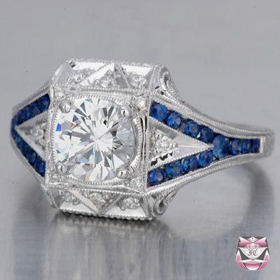 Art Deco Engagement Ring - Certified 1.01ct H/VS Diamond