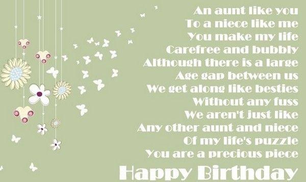 Birthday Card Poem To Aunt