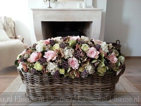 Large basket with silk flowers