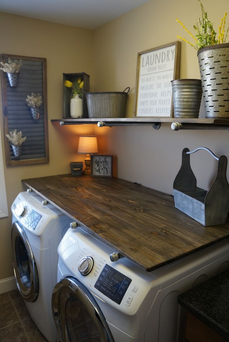 How to do a mini Laundry Room Makeover with Rustic Industrial Pipe Shelves for under $250!