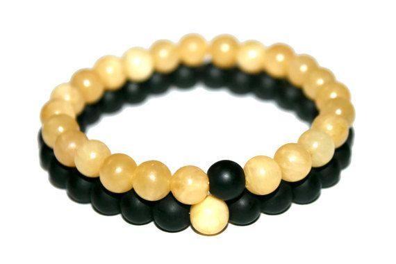 Onyx & Topaz Bracelet Set Couples Bracelet His and Hers Bracelet Gift |for |Girlfriend Gift for Husband Gift for Brother Gift for Boyfriend