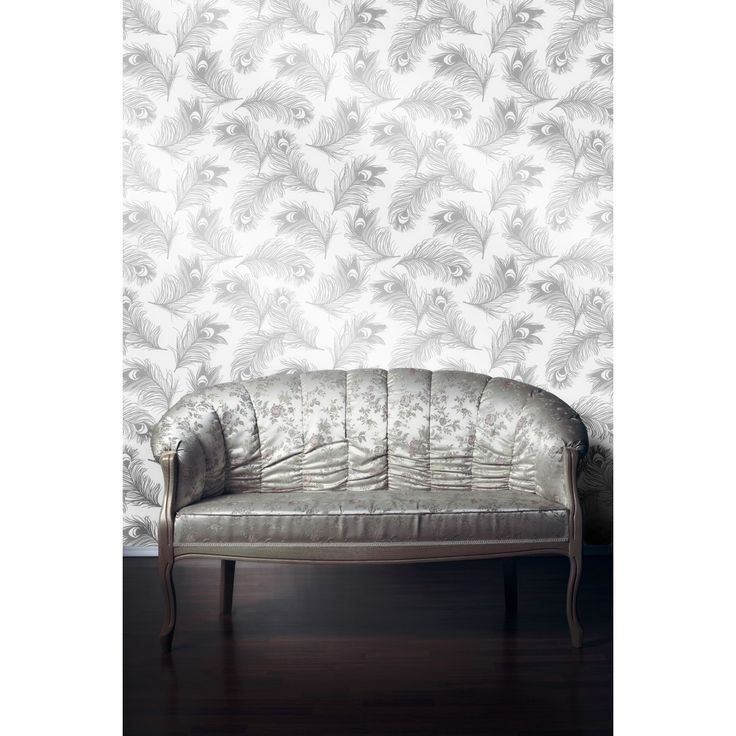silver frost feathers temporary removable wallpaper by tempaper