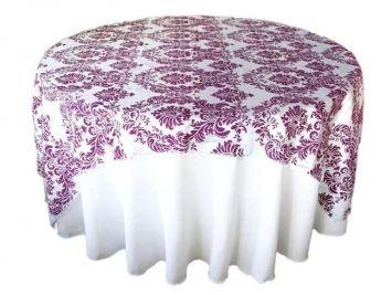 Damask Purple Tablecloth Overlay $289