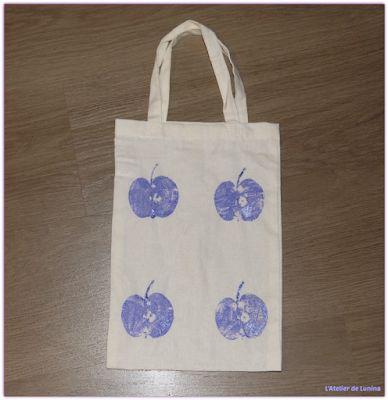 Customiser sac tote bag empreinte de pomme fruit Customize imprint apple