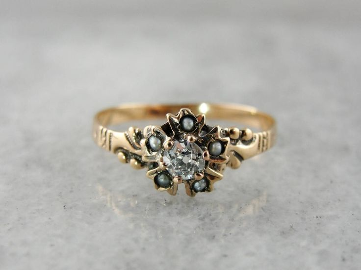 RESERVED - Second Payment - Antique Old Mine Cut Diamond and Seed Pearl Victorian Ring, Victorian Diamond and Pearl Ring, K7EWJ8-D by MSJewelers on Etsy https://www.etsy.com/listing/527919918/reserved-second-payment-antique-old-mine