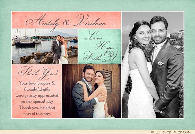 Three Photo Custom Keepsake Wedding Thank You - Any Colors