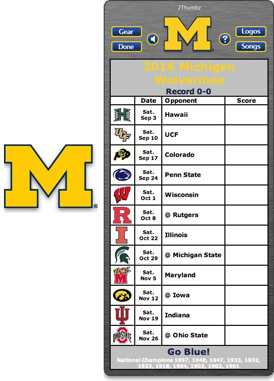 Get your 2016 Michigan Wolverines Football Schedule Mac App  for Mac OS X - Go Blue! http://2thumbzmac.com/teamPages/Michigan_Wolverines.htm
