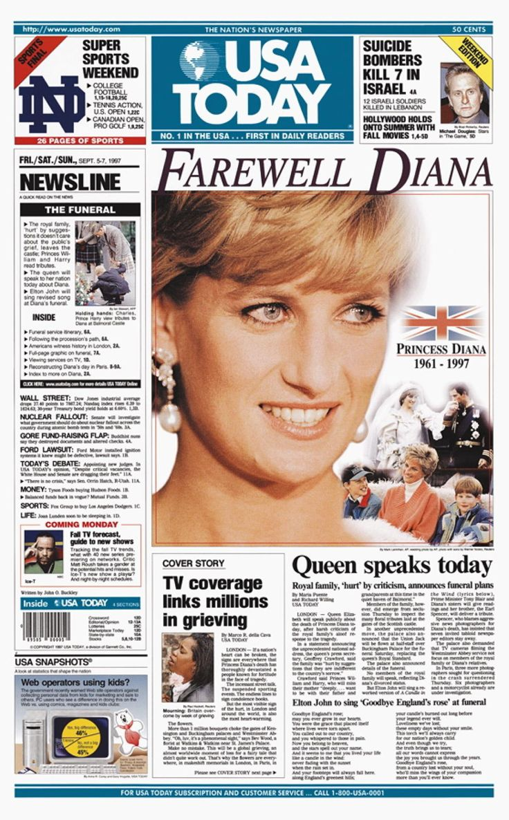 """DIANA, PRINCESS OF WALES - As the world continued to mourn the loss of Princess Diana, newspapers kept up with a steady stream of coverage. The front page of """"USA Today's"""" Sept. 5 (1997) weekend edition says farewell to the Princess of Wales. The issue sold more than three million copies."""