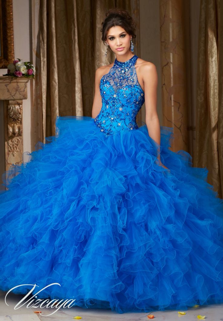 Morilee Vizcaya Quinceanera Dress 89103 JEWELED BEADING ON A RUFFLED TULLE BALL GOWN  Matching Bolero Jacket. Available in Fuchsia, Mint Leaf, Cobalt, White (Color of this dress): Cobalt