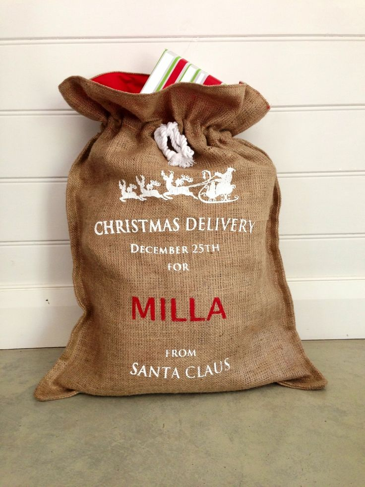 Personalised Hessian Christmas Santa Sack in White - Down That Little Lane