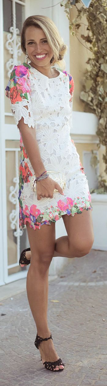 Short Sleeve Floral Lace Little Dress Fall Inspo by Glamgerous  www.puddycatshoes.com