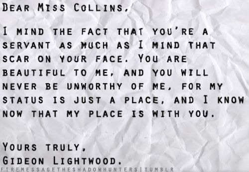 letter from Gideon Lightwood to Sophie Collins!