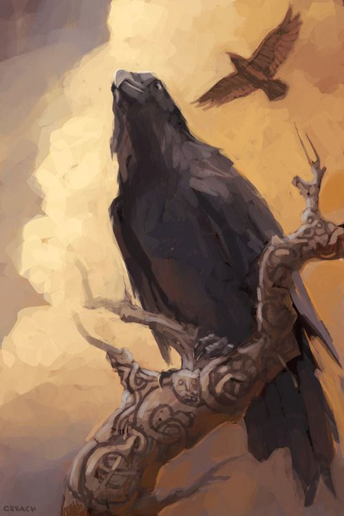 """Huginn and Muninn        In Norse mythology, Huginn (meaning """"thought"""") and Muninn (meaning """"memory"""" or """"mind"""") are a pair of ravens that fly all over the world, Midgard, and bring the god Odin information"""