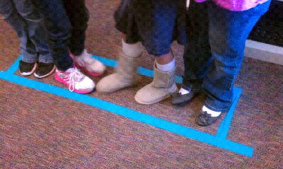 Alligator Game- Make a small rectangle around students which they can not leave, then give them challenges (i.e. move into tallest-shortest, alphabetical, or chronological order. Add additional challenges such as non-verbal or blindfold