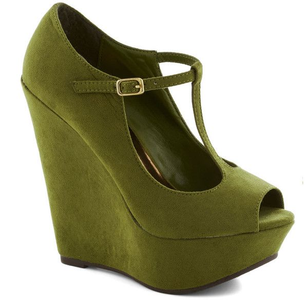 It Malt Be Love Wedge in Kale ($45) ❤ liked on Polyvore featuring shoes, sandals, wedges, heels, schuhe, peep toe platform sandals, green wedge sandals, studded sandals, platform wedge shoes and platform heel sandals