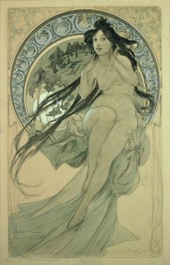 The Arts: study for 'Music' (1898) In the final lithograph made from this drawing, the female figure is partially clothed.