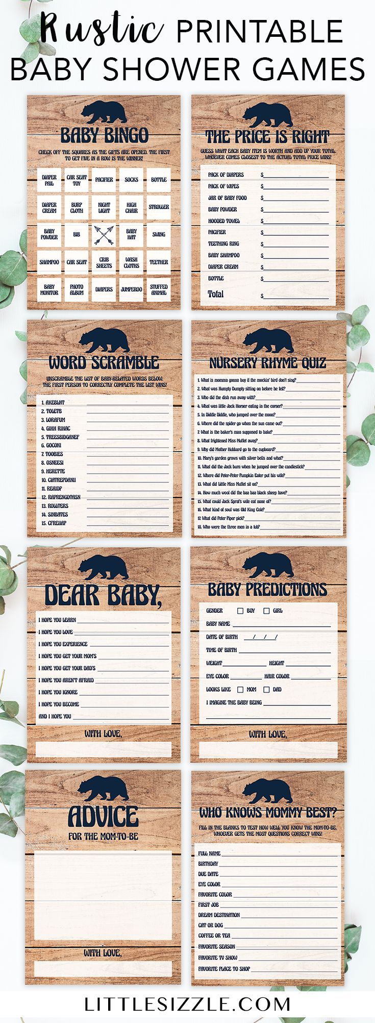 Rustic baby shower games by LittleSizzle. Entertain your guests with this fun bundle of popular and easy games for your woodland baby shower. The wood background with navy baby bear is perfect to celebrate the parents-to-be new adventure! The printable game package includes baby bingo, price is right, word scramble, wishes for baby, advice cards and more! #woodland #babyshowergames #rustic #babyshowerthemes #babybear #winter #babyshowerideas4u #DIY #printable #adventure #babybingo…