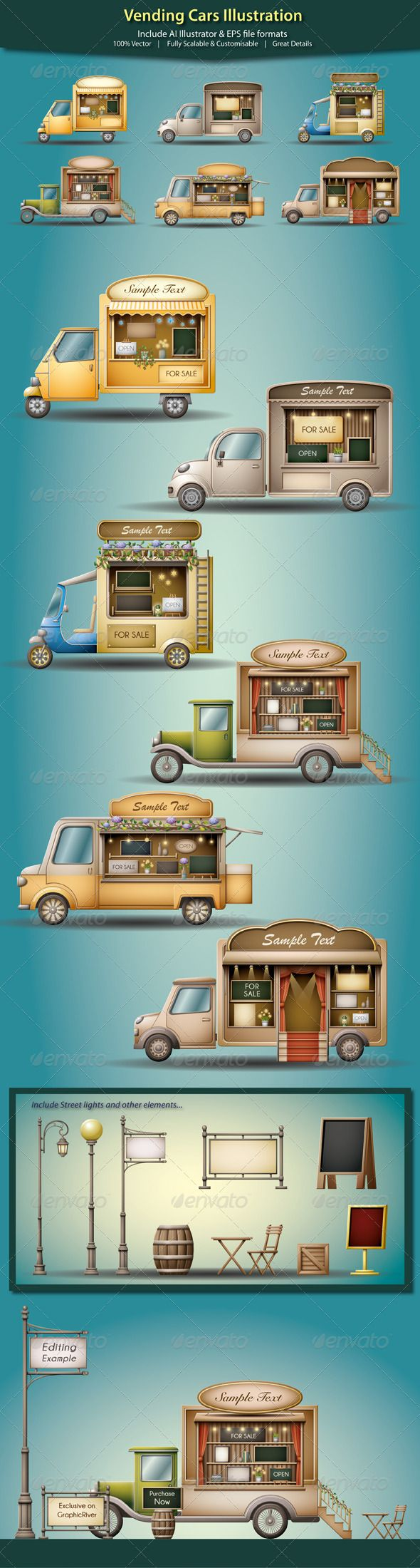 Vending Cars Illustration - Commercial / Shopping Conceptual                                                                                                                                                                                 Mais