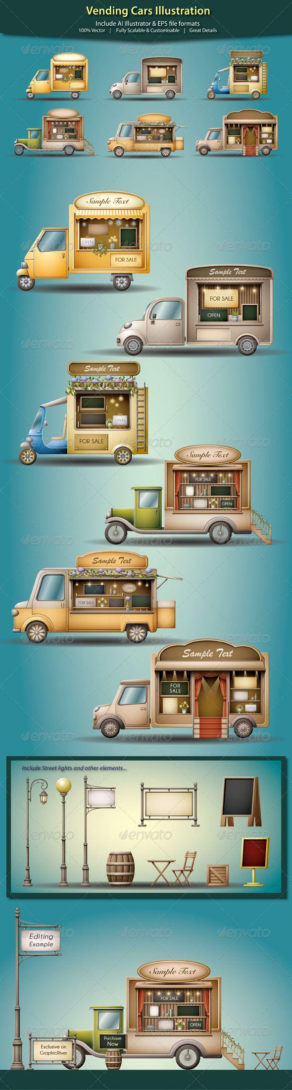 Vending Cars Illustration - Commercial / Shopping Conceptual