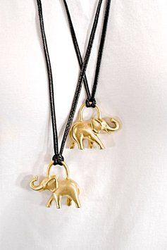 "Escada ESCADA Gold 'Elephant' (2) Pendent Necklaces w/Black Leather Cord- 17.5"" Drop"