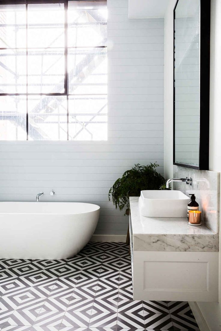 Bathroom tile and freestanding tub /