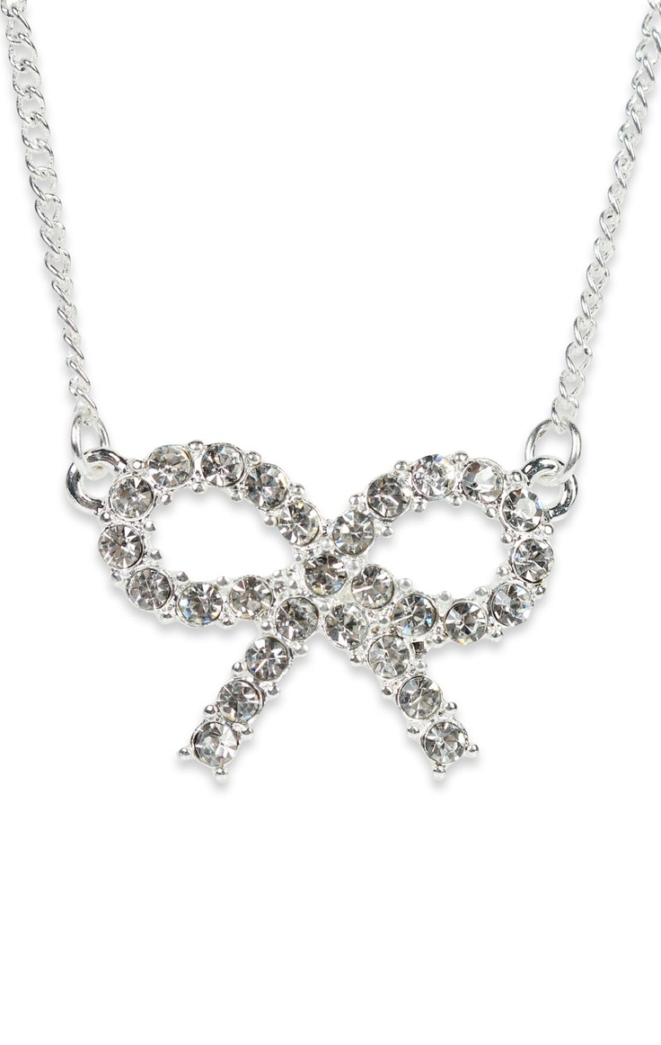 Deb Shops small stone #bow #necklace