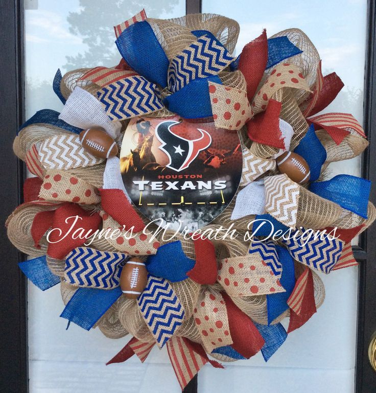 Houston Texans Burlap Wreath with small footballs and cut ribbons