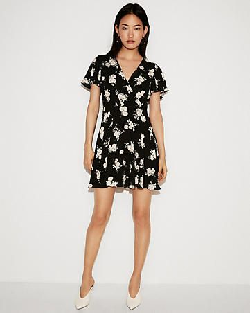 cffce6962d5 petite floral surplice flutter sleeve fit and flare dress