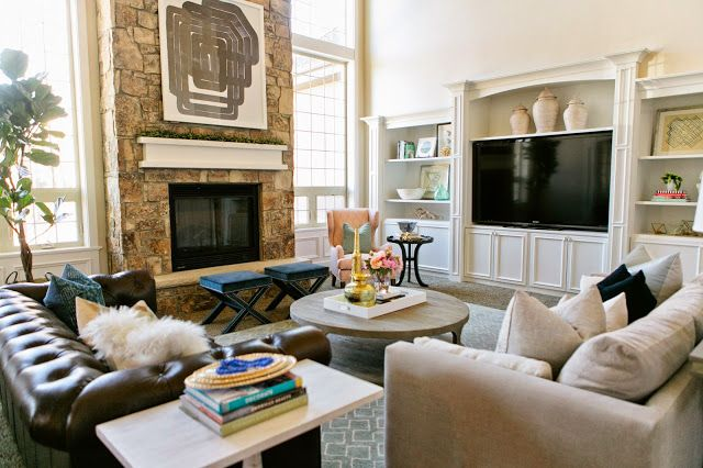 just like the layout of this living room - fire place with ...