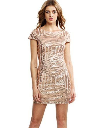 Women's Cap Sleeve Open Back Trimmed Sequined Bodycon Dress