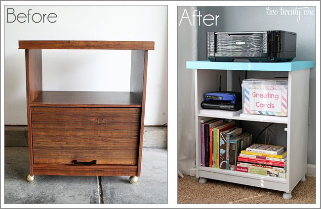 up-cycle old TV cart (under work bench)  printer cart before and after