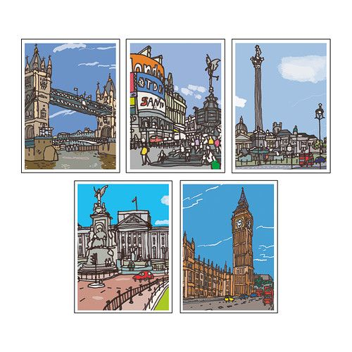 Kort Art Cards (London) - Ikea (for photo collage wall)Ikea Motif, London Art, Art Cards, London Prints, London Postcards, Cards London, Motif Create, Kort Art, James Hobbes