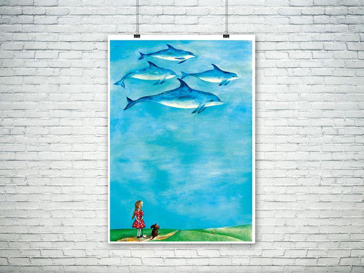 Flying dolphins art print, unframed, fantasy wall art, home decor, girl illustration, nursery decor, be happy, blue sky art, dolphin lovers - pinned by pin4etsy.com