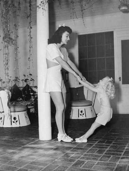 A handful: Joan Crawford and Christina at home, 1943.