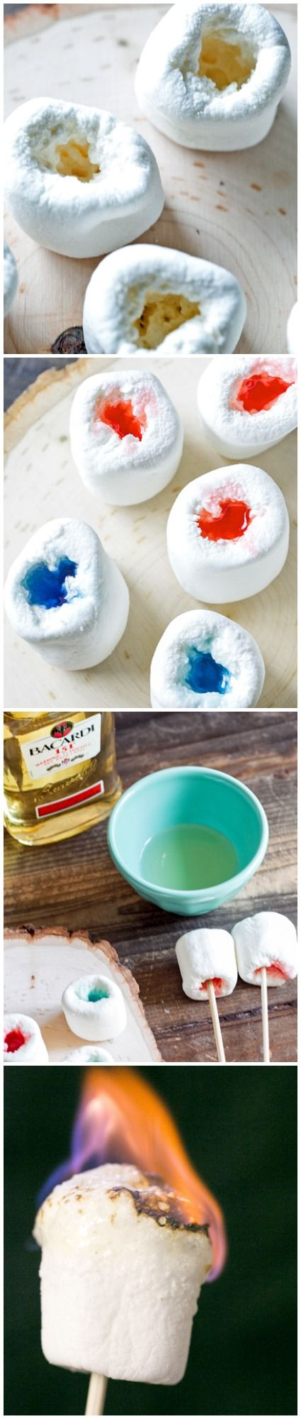 A jello shot inside a marshmallow, eat plain or you can toast them first! Just like roasting a marshmallow, make sure you blow out the flame out before you eat it ;)