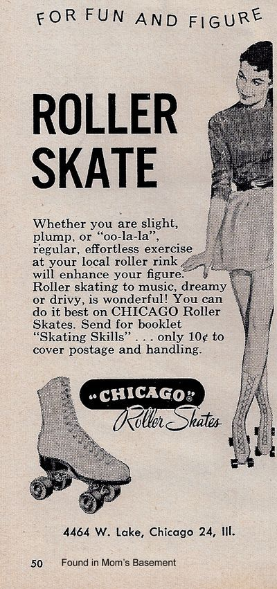 """Whether you are slight, plump, or """"oo-la-la,"""" regular, effortless exercise at your local rink with enhance your figure. Ohh the ads of the 50's"""