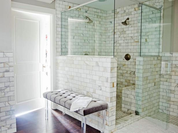 White Marble and Glass-Walled Shower