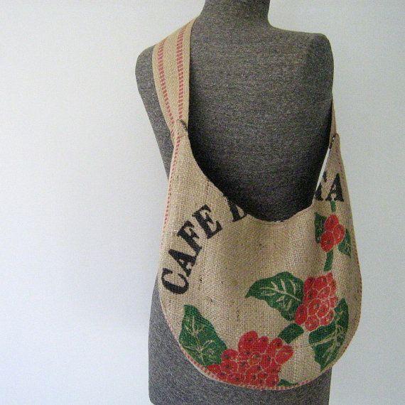 Recycled Burlap Coffee Bean Sack Hobo  LA MINTA by OneWomanStudio, $60.00
