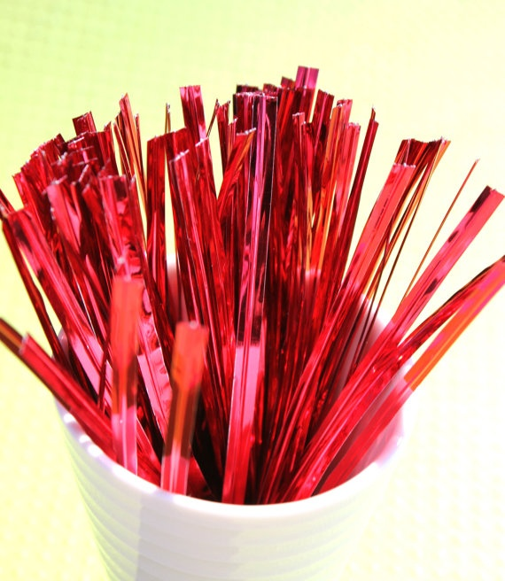 Christmas Red Twist Ties  4 inch size by thebakersconfections, $2.75