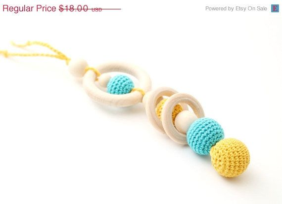 ON SALE Blue & Yellow Teething Toy, Baby Teether/Wooden rattle with crochet wooden beads and wooden rings