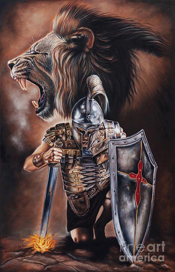 Warrior Painting - Valiant Men by Ilse Kleyn | Prophetic art warriors, Angel warrior tattoo, Lion of judah jesus