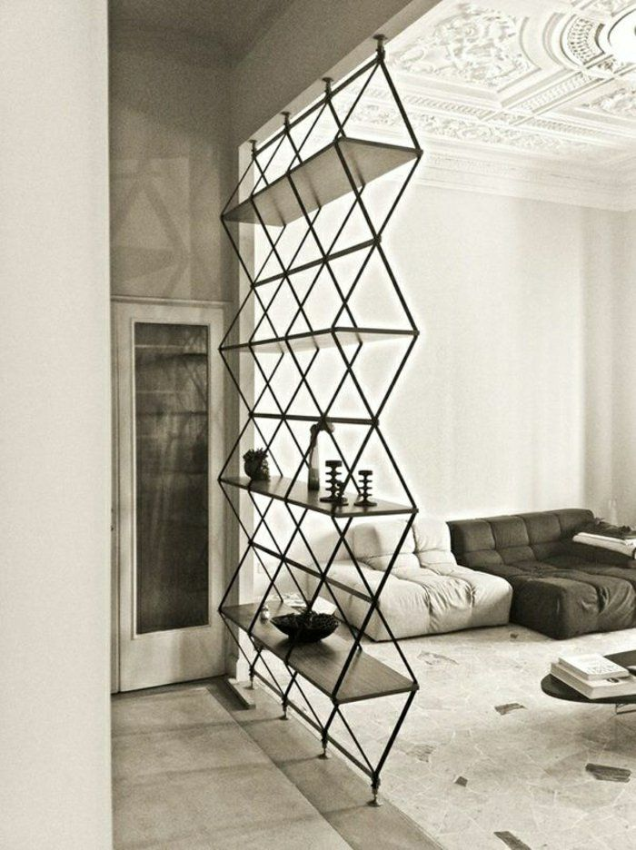 étagère murale en fer noir, design contemporain, chambre a coucher blanc, etagere noir