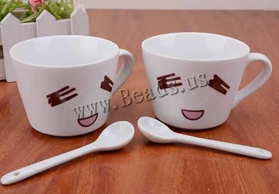Porcelain Cup, brushwork, with spoon & for couple