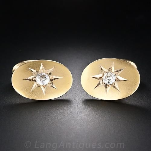 Antique Diamond Cufflinks - 130-1-250 - Lang Antiques; Antique Diamond Cufflinks A sizable pair of sparkling old mine-cut diamonds, together weighing .75 carat, are the 'stars' of these late-Victorian, eight-pointed 'star-set' cufflinks, crafted in 14 karat yellow gold with an acid matte finish. Circa 1890-1910. The oval plaques measure 3/4 inch by 5/8 inch. $2,750.00 - View Item    #130-1-250
